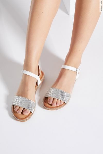 White Diamante Flat Sandals